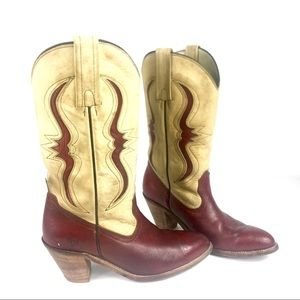 Frye Red & Cream Reptile Cowgirl Boots 8.5 A6